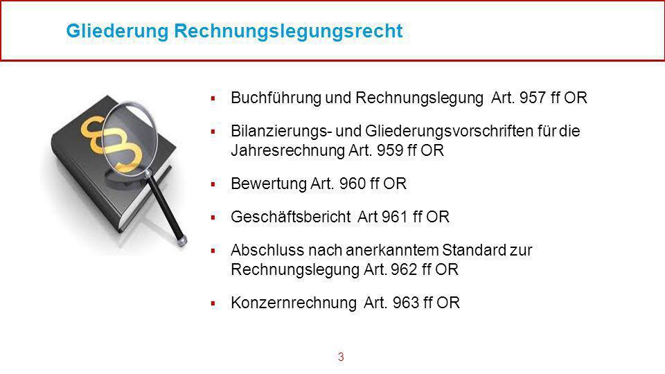 3 Gliederung Rechnungslegungsrecht Buchführung und Rechnungslegung Art. 957 ff OR Bilanzierungs- und Gliederungsvorschriften für die Jahresrechnung Ar