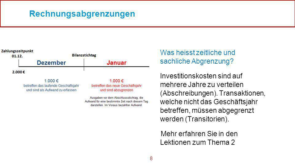 8 Rechnungsabgrenzungen Was heisst zeitliche und sachliche Abgrenzung? Investitionskosten sind auf mehrere Jahre zu verteilen (Abschreibungen). Transa