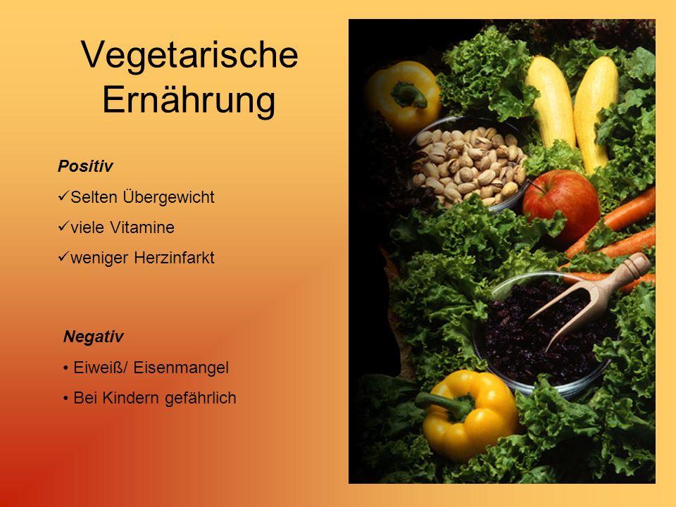 Vegetarische Ernährung Positiv Selten Übergewicht viele Vitamine weniger Herzinfarkt Negativ Eiweiß/ Eisenmangel Bei Kindern gefährlich