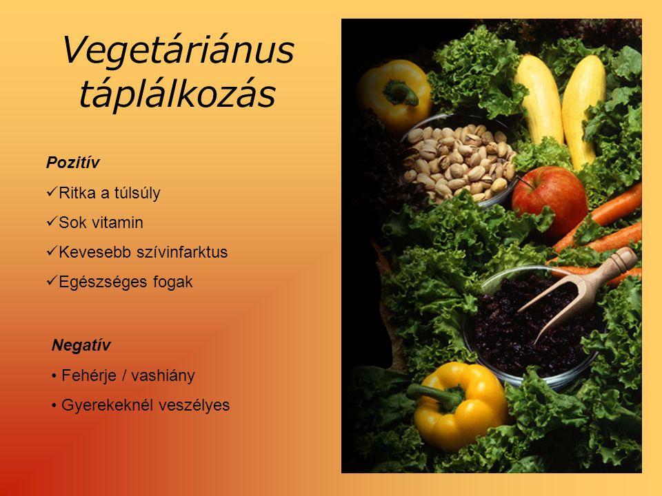 Vegetáriánus táplálkozás Pozitív Ritka a túlsúly Sok vitamin Kevesebb szívinfarktus Egészséges fogak Negatív Fehérje / vashiány Gyerekeknél veszélyes
