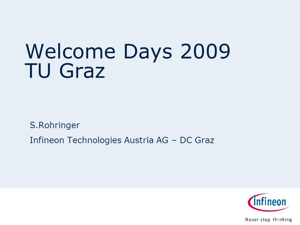 12.00.012.08.9 7.18 9.20 8.60 6.40 6.20 6.40 6.80 6.20 5.00 Page 2 Welcome Days 2009 – Infineon Technologies 29.09.2009 Herzlich Willkommen an der TU Graz und in der Technik