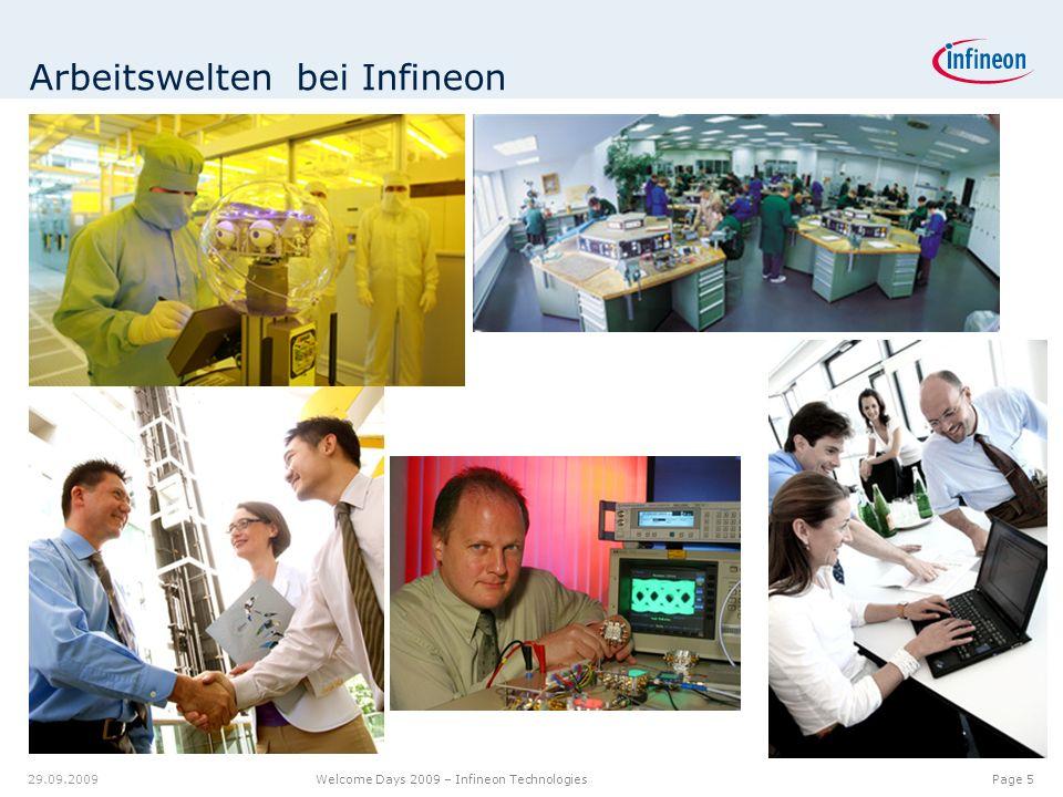 12.00.012.08.9 7.18 9.20 8.60 6.40 6.20 6.40 6.80 6.20 5.00 Page 5 Welcome Days 2009 – Infineon Technologies 29.09.2009 Arbeitswelten bei Infineon