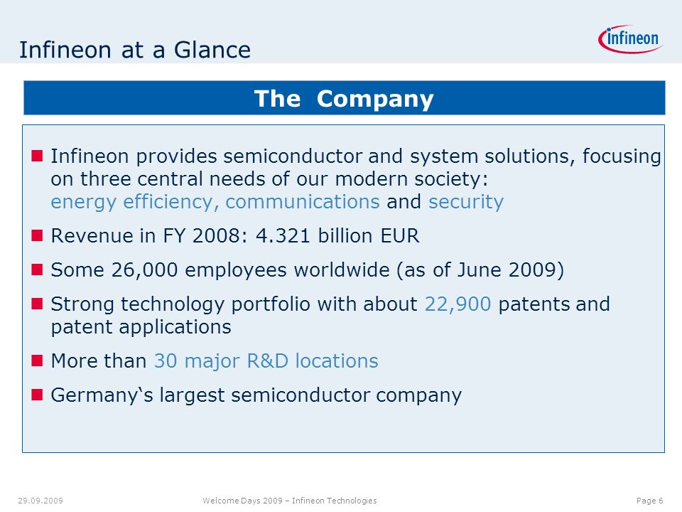 12.00.012.08.9 7.18 9.20 8.60 6.40 6.20 6.40 6.80 6.20 5.00 Page 7 Welcome Days 2009 – Infineon Technologies 29.09.2009 Semiconductor market moved again downwards 205 240 Source: WSTS data for historical data; Forecast: of VSLI, Gartner, iSuppli, WSTS; market growth rate year-on-year Revenue in US Dollar billion and market growth rate Forecast range market growth rate Forecast range revenue Revenue Market growth rate