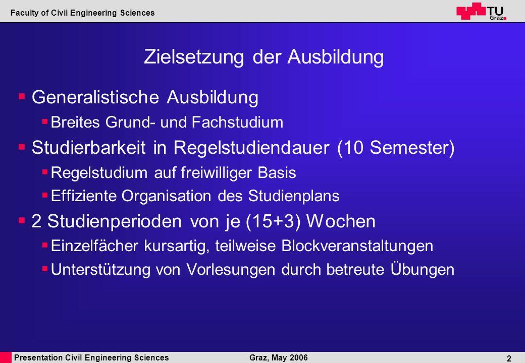 Presentation Civil Engineering Sciences Faculty of Civil Engineering Sciences Graz, May 2006 2 Zielsetzung der Ausbildung Generalistische Ausbildung Breites Grund- und Fachstudium Studierbarkeit in Regelstudiendauer (10 Semester) Regelstudium auf freiwilliger Basis Effiziente Organisation des Studienplans 2 Studienperioden von je (15+3) Wochen Einzelfächer kursartig, teilweise Blockveranstaltungen Unterstützung von Vorlesungen durch betreute Übungen