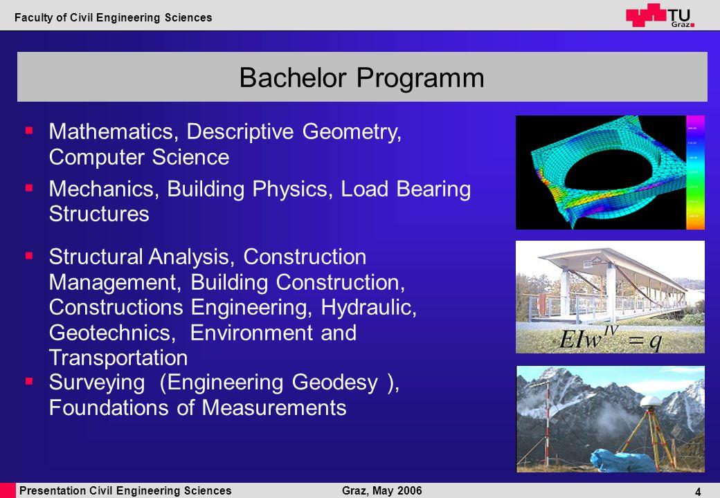 Presentation Civil Engineering Sciences Faculty of Civil Engineering Sciences Graz, May 2006 5 180 ECTS Bachelor Programm