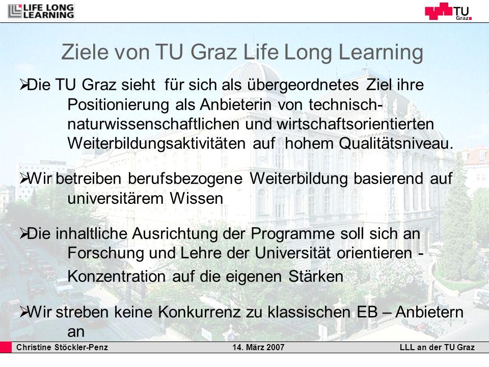 Christine Stöckler-Penz 14. März 2007LLL an der TU Graz Ziele von TU Graz Life Long Learning Die TU Graz sieht für sich als übergeordnetes Ziel ihre P