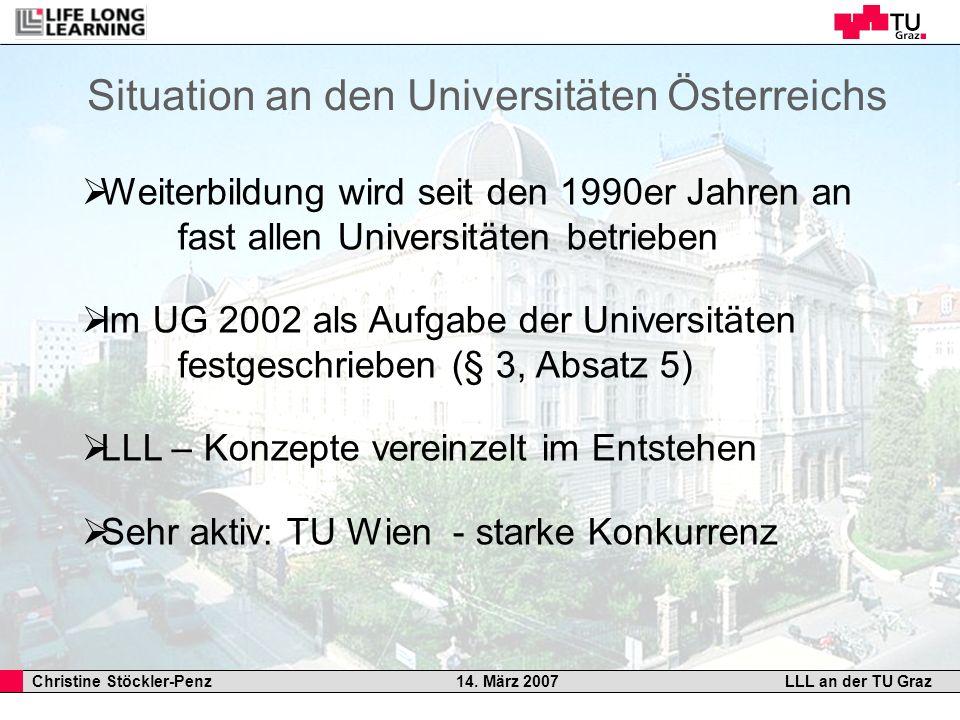 Christine Stöckler-Penz 14. März 2007LLL an der TU Graz Situation an den Universitäten Österreichs Weiterbildung wird seit den 1990er Jahren an fast a
