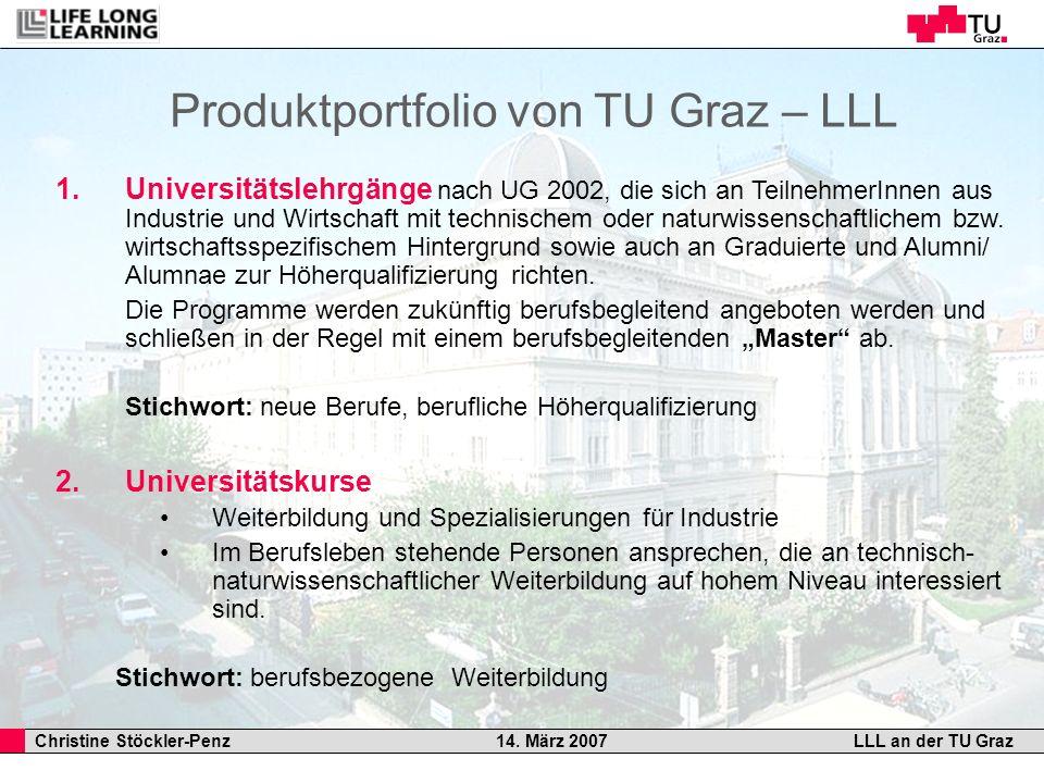 Christine Stöckler-Penz 14. März 2007LLL an der TU Graz Produktportfolio von TU Graz – LLL 1.Universitätslehrgänge nach UG 2002, die sich an Teilnehme