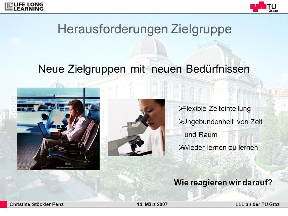 Christine Stöckler-Penz 14. März 2007LLL an der TU Graz Herausforderungen Zielgruppe Neue Zielgruppen mit neuen Bedürfnissen Flexible Zeiteinteilung U