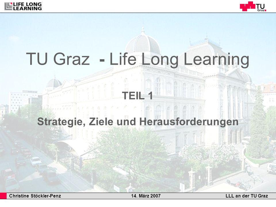 Christine Stöckler-Penz 14. März 2007LLL an der TU Graz TU Graz - Life Long Learning TEIL 1 Strategie, Ziele und Herausforderungen