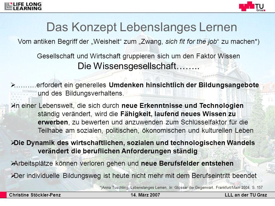 Christine Stöckler-Penz 14. März 2007LLL an der TU Graz Gesellschaft und Wirtschaft gruppieren sich um den Faktor Wissen Die Wissensgesellschaft…….. …