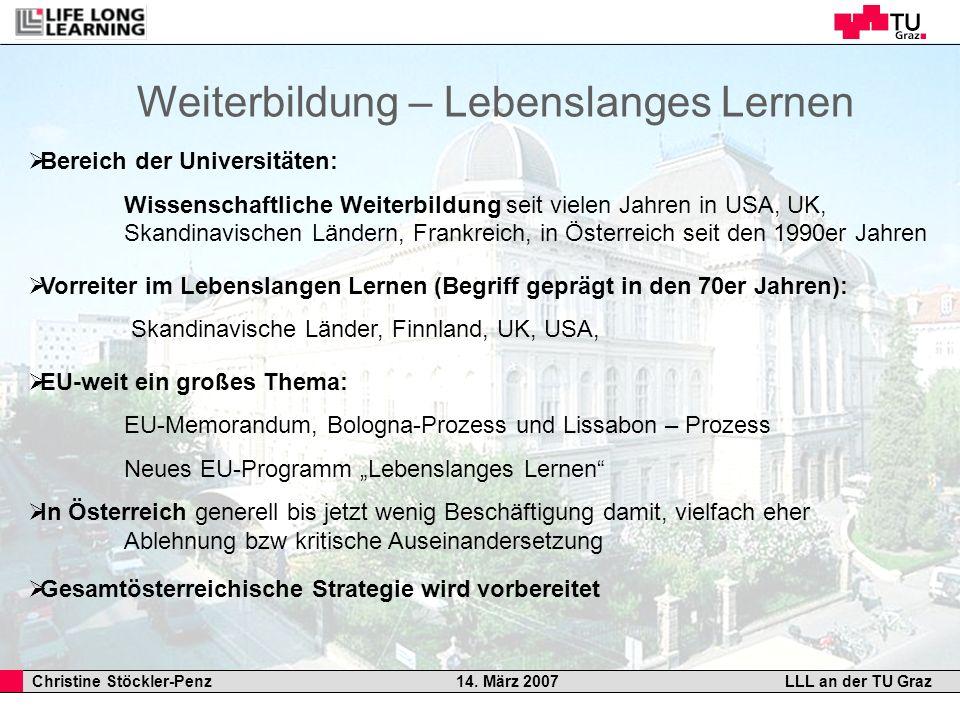 Christine Stöckler-Penz 14. März 2007LLL an der TU Graz Bereich der Universitäten: Wissenschaftliche Weiterbildung seit vielen Jahren in USA, UK, Skan