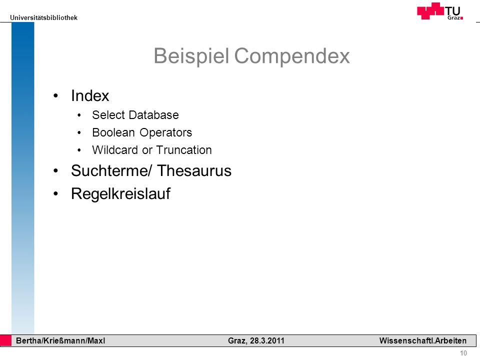 Universitätsbibliothek 10 Bertha/Krießmann/Maxl Graz, 28.3.2011Wissenschaftl.Arbeiten Beispiel Compendex Index Select Database Boolean Operators Wildc