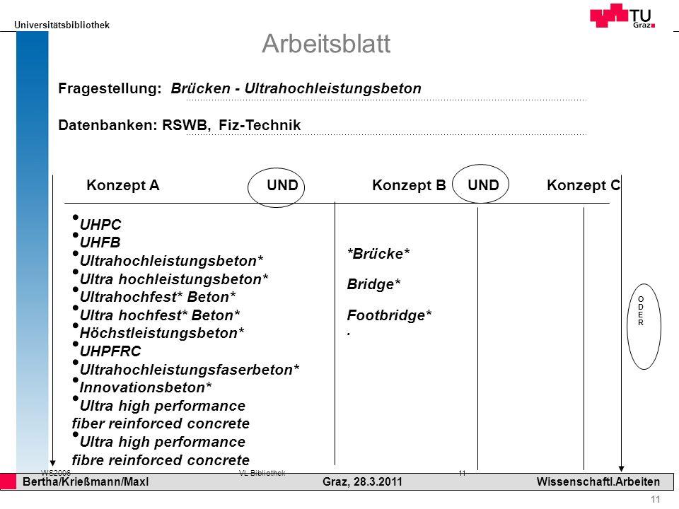 Universitätsbibliothek 11 Bertha/Krießmann/Maxl Graz, 28.3.2011Wissenschaftl.Arbeiten WS2006VL Bibliothek 11 Arbeitsblatt Konzept A UND Konzept B UND