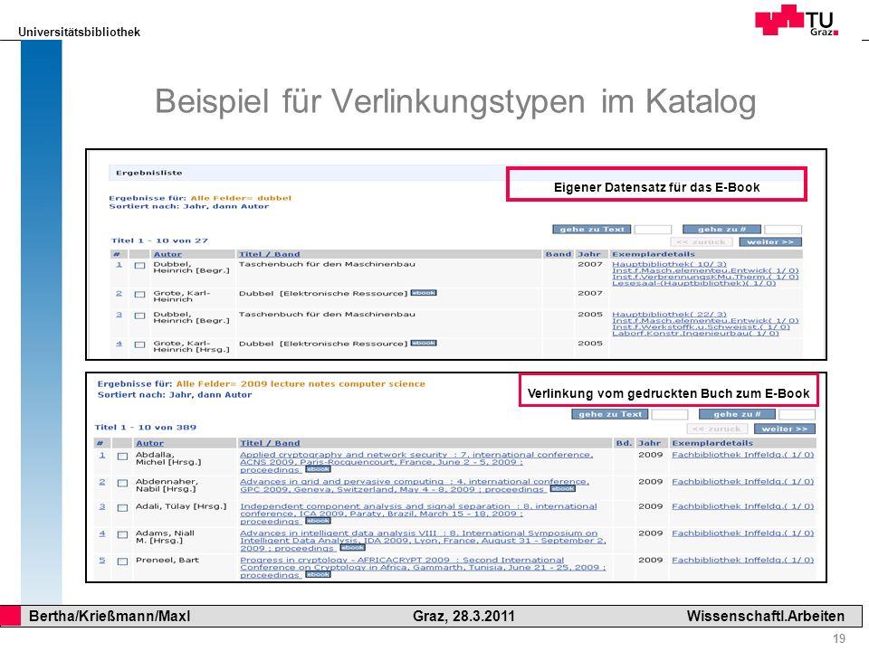 Universitätsbibliothek 19 Bertha/Krießmann/Maxl Graz, 28.3.2011Wissenschaftl.Arbeiten Beispiel für Verlinkungstypen im Katalog Eigener Datensatz für d