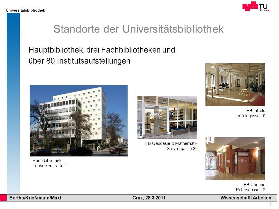 Universitätsbibliothek 3 Bertha/Krießmann/Maxl Graz, 28.3.2011Wissenschaftl.Arbeiten Standorte der Universitätsbibliothek Hauptbibliothek, drei Fachbi