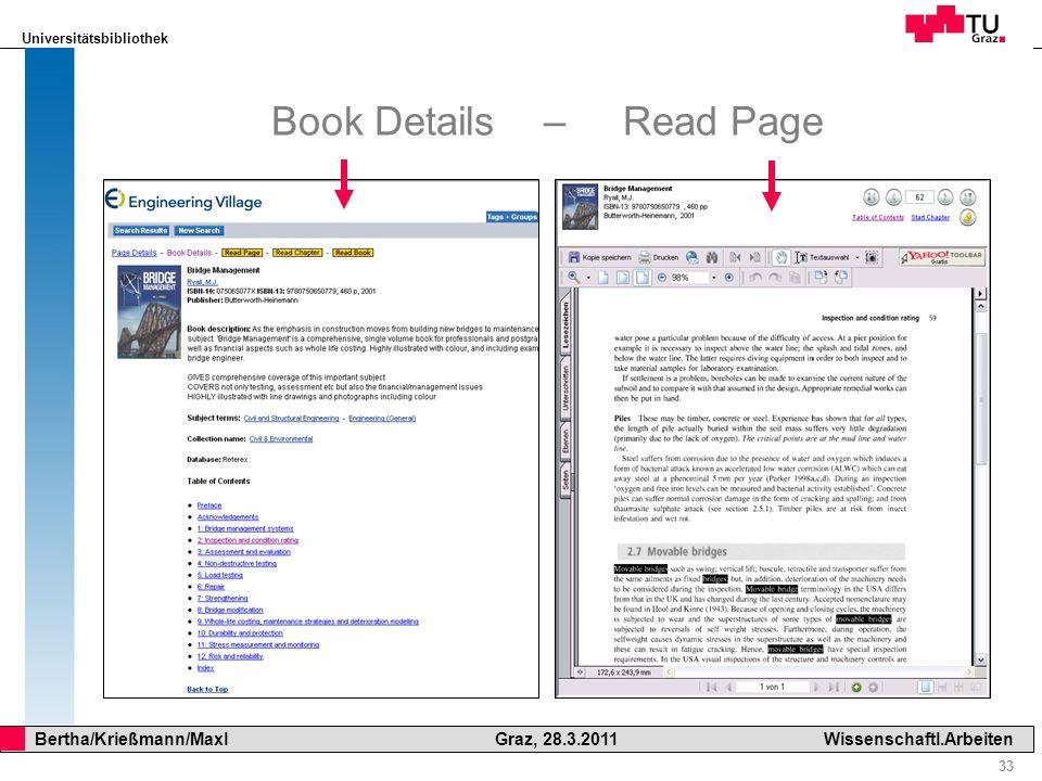 Universitätsbibliothek 33 Bertha/Krießmann/Maxl Graz, 28.3.2011Wissenschaftl.Arbeiten Book Details – Read Page