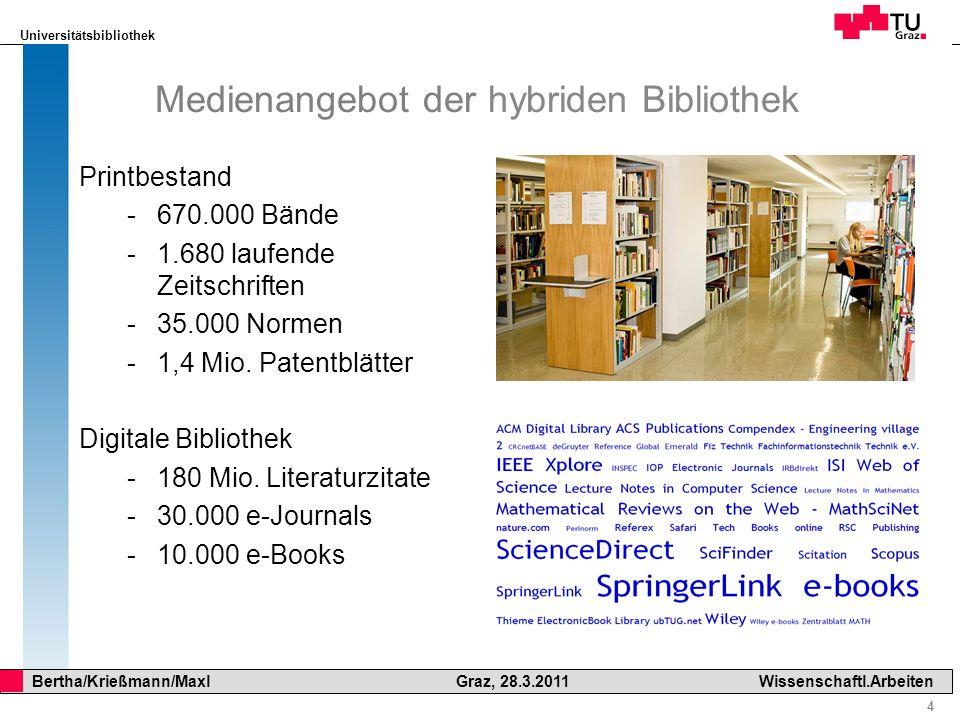 Universitätsbibliothek 15 Bertha/Krießmann/Maxl Graz, 28.3.2011Wissenschaftl.Arbeiten Bibliothekskataloge Wikipedia: Definition Bibliothekskatalog Ein Bibliothekskatalog ist ein Verzeichnis von Publikationen (Medien) oder Sammlungen in einer BibliothekPublikationenBibliothek Als Online Public Access Catalog (kurz OPAC) bezeichnet man einen öffentlich zugänglichen digitalen Bibliothekskatalog.