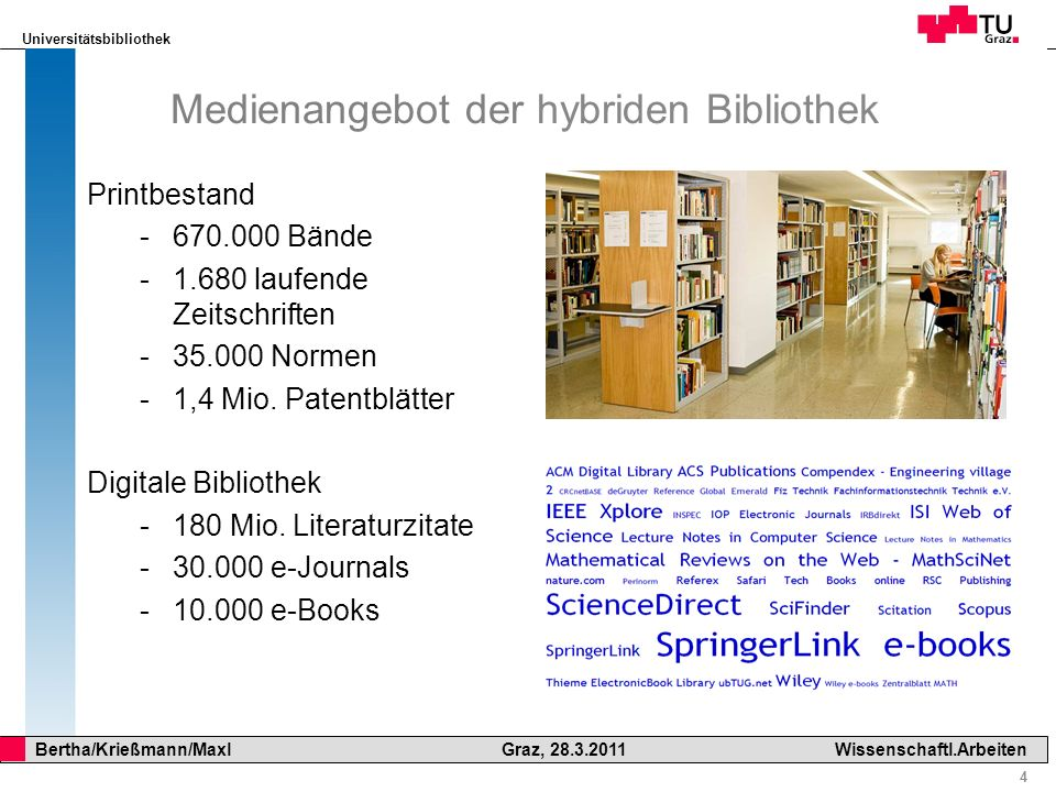 Universitätsbibliothek 55 Bertha/Krießmann/Maxl Graz, 28.3.2011Wissenschaftl.Arbeiten Suchmaschinen: Google Scholar www.scholar.google.com www.scholar.google.com Lizenziert: ACM Digital Library Lizenziert: Electronic Library von Emerald Lizenziert: IEEE Xplore (alle IEEE Publikationen)