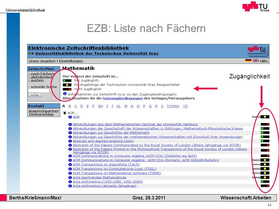 Universitätsbibliothek 44 Bertha/Krießmann/Maxl Graz, 28.3.2011Wissenschaftl.Arbeiten EZB: Liste nach Fächern Zugänglichkeit