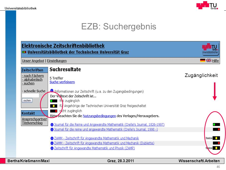 Universitätsbibliothek 46 Bertha/Krießmann/Maxl Graz, 28.3.2011Wissenschaftl.Arbeiten EZB: Suchergebnis Zugänglichkeit