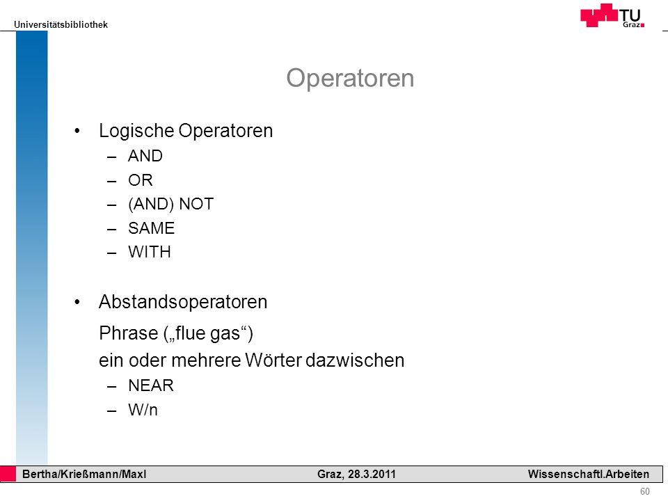 Universitätsbibliothek 60 Bertha/Krießmann/Maxl Graz, 28.3.2011Wissenschaftl.Arbeiten Operatoren Logische Operatoren –AND –OR –(AND) NOT –SAME –WITH A
