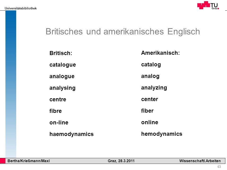 Universitätsbibliothek 63 Bertha/Krießmann/Maxl Graz, 28.3.2011Wissenschaftl.Arbeiten Britisches und amerikanisches Englisch Britisch: catalogue analo
