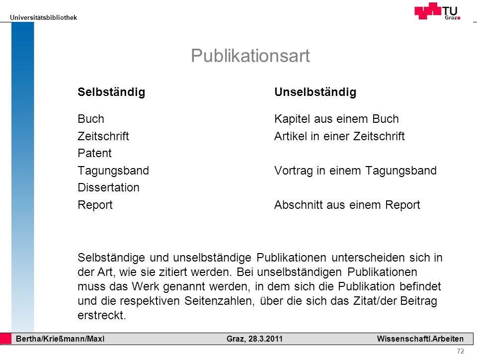 Universitätsbibliothek 72 Bertha/Krießmann/Maxl Graz, 28.3.2011Wissenschaftl.Arbeiten Publikationsart Selbständig Buch Zeitschrift Patent Tagungsband