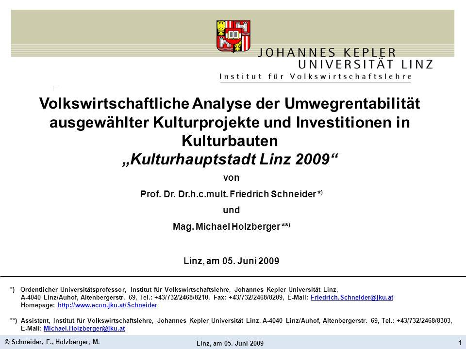 Linz, am 05. Juni 2009 © Schneider, F., Holzberger, M. 1 Volkswirtschaftliche Analyse der Umwegrentabilität ausgewählter Kulturprojekte und Investitio