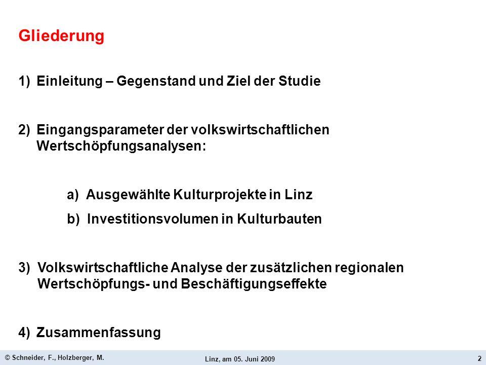 Linz, am 05. Juni 2009 © Schneider, F., Holzberger, M. 2 Gliederung 1)Einleitung – Gegenstand und Ziel der Studie 2)Eingangsparameter der volkswirtsch