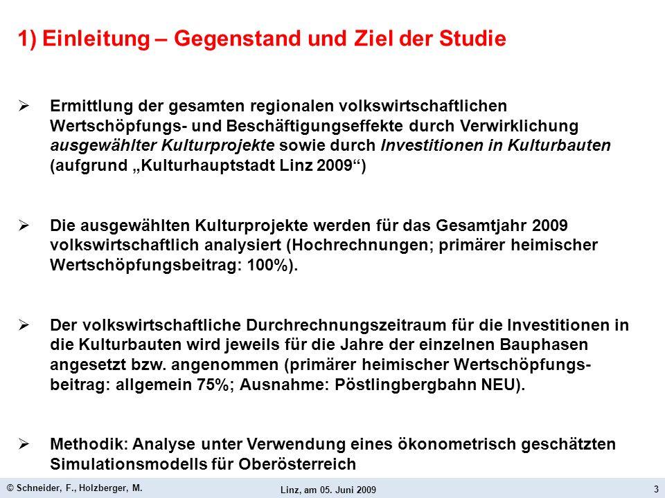 Linz, am 05. Juni 2009 © Schneider, F., Holzberger, M. 3 1)Einleitung – Gegenstand und Ziel der Studie Ermittlung der gesamten regionalen volkswirtsch