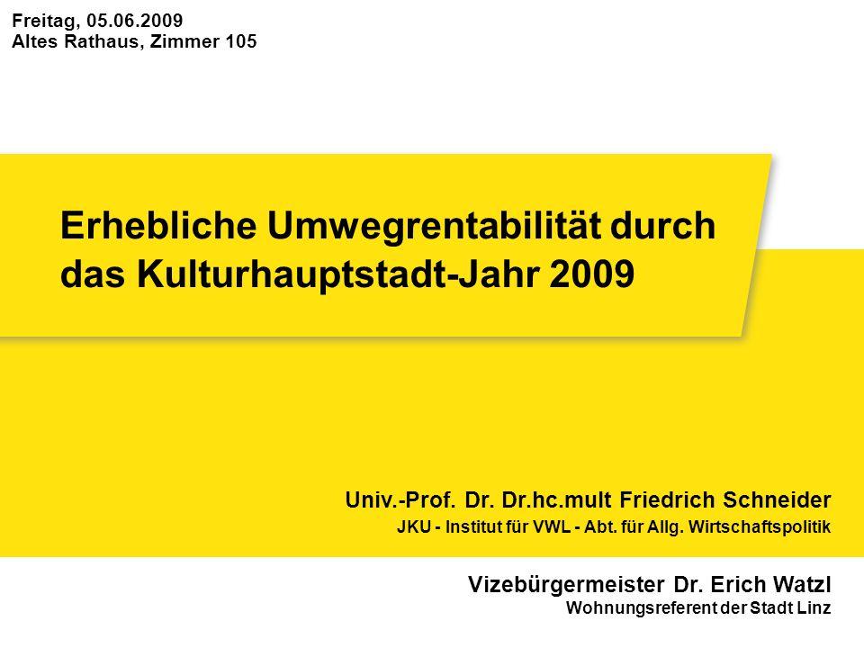 Erhebliche Umwegrentabilität durch das Kulturhauptstadt-Jahr 2009 Freitag, 05.06.2009 Altes Rathaus, Zimmer 105 Univ.-Prof. Dr. Dr.hc.mult Friedrich S