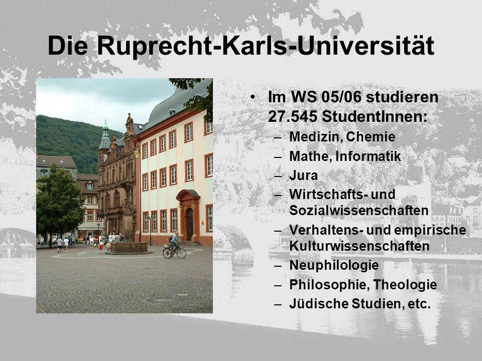 Die Ruprecht-Karls-Universität Im WS 05/06 studieren 27.545 StudentInnen: –Medizin, Chemie –Mathe, Informatik –Jura –Wirtschafts- und Sozialwissenscha