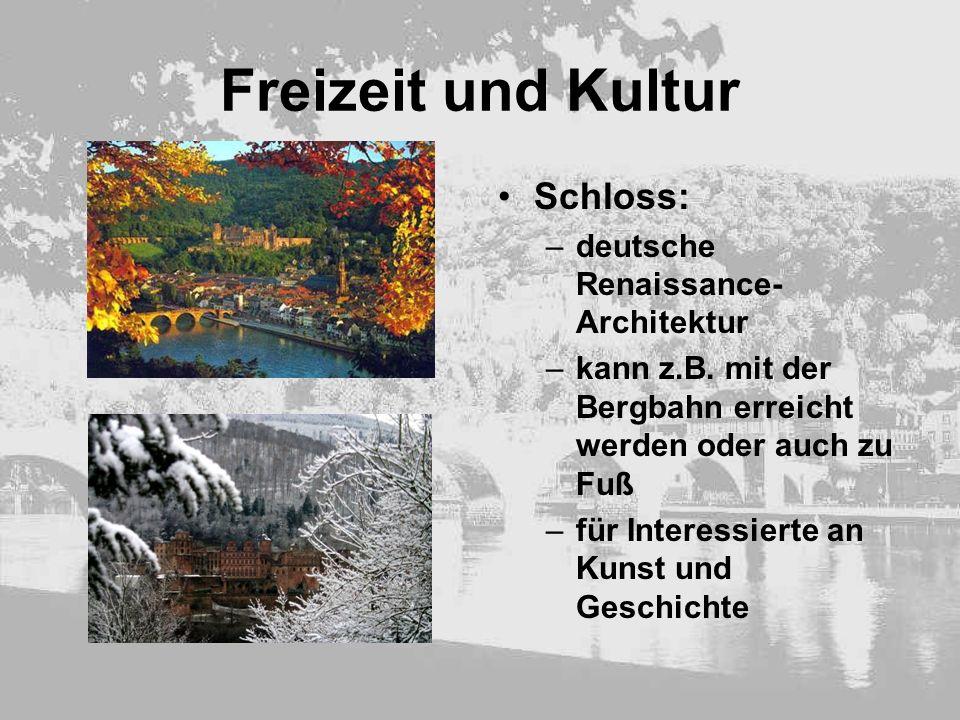 Freizeit und Kultur Schloss: –deutsche Renaissance- Architektur –kann z.B. mit der Bergbahn erreicht werden oder auch zu Fuß –für Interessierte an Kun