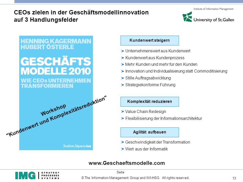 13 Seite © The Information Management Group and IWI-HSG. All rights reserved. CEOs zielen in der Geschäftsmodellinnovation auf 3 Handlungsfelder www.G