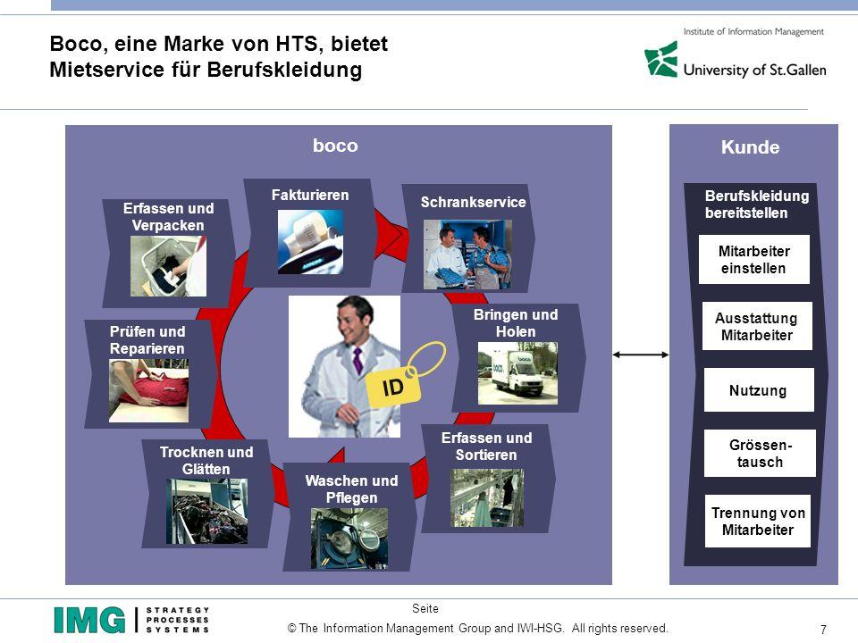 7 Seite © The Information Management Group and IWI-HSG. All rights reserved. Boco, eine Marke von HTS, bietet Mietservice für Berufskleidung Ausstattu