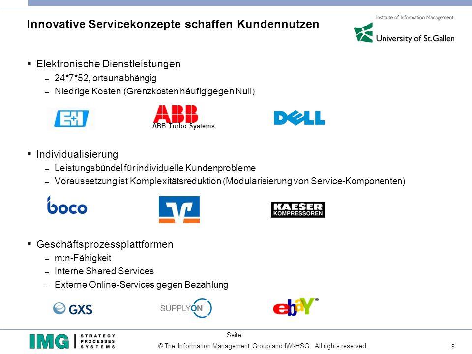 8 Seite © The Information Management Group and IWI-HSG. All rights reserved. Innovative Servicekonzepte schaffen Kundennutzen Elektronische Dienstleis