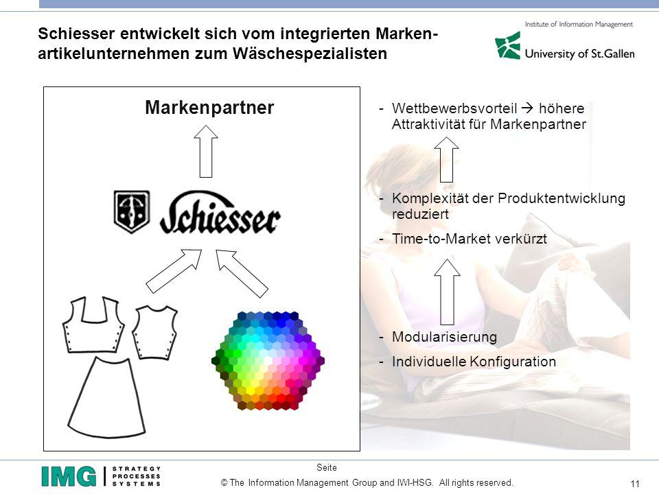 11 Seite © The Information Management Group and IWI-HSG. All rights reserved. Schiesser entwickelt sich vom integrierten Marken- artikelunternehmen zu