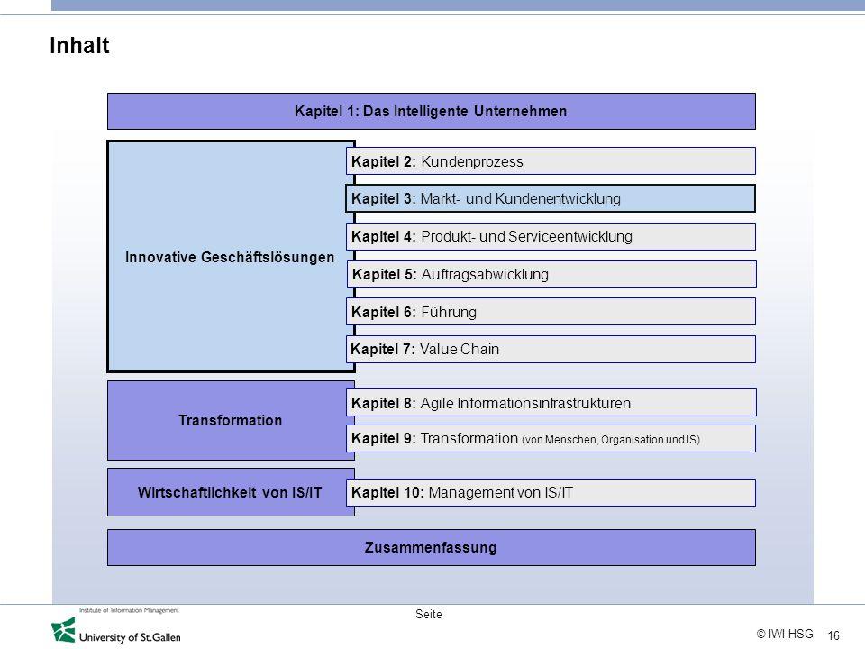 16 © IWI-HSG Seite Inhalt Innovative Geschäftslösungen Transformation Wirtschaftlichkeit von IS/IT Kapitel 2: Kundenprozess Kapitel 3: Markt- und Kund