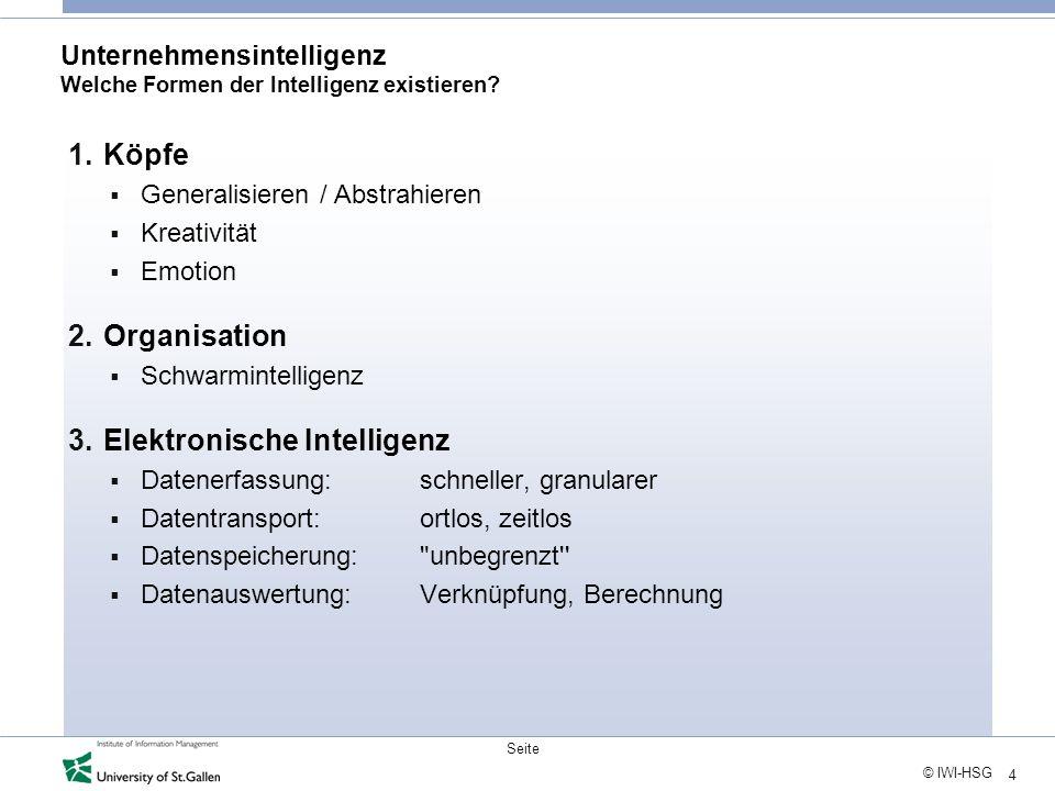 4 © IWI-HSG Seite Unternehmensintelligenz Welche Formen der Intelligenz existieren? 1.Köpfe Generalisieren / Abstrahieren Kreativität Emotion 2.Organi