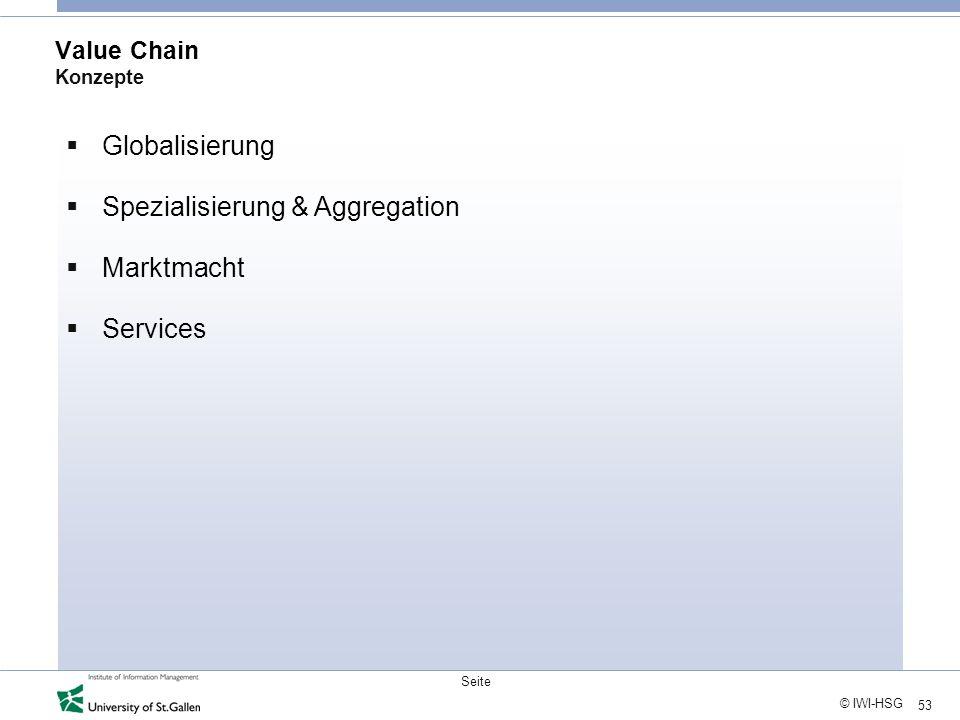 53 © IWI-HSG Seite Value Chain Konzepte Globalisierung Spezialisierung & Aggregation Marktmacht Services