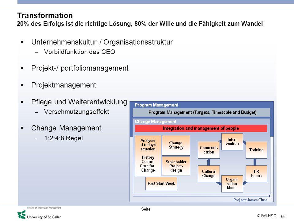 66 © IWI-HSG Seite Transformation 20% des Erfolgs ist die richtige Lösung, 80% der Wille und die Fähigkeit zum Wandel Unternehmenskultur / Organisatio
