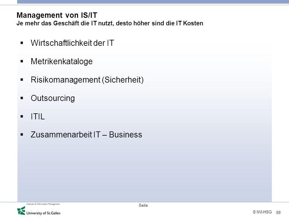69 © IWI-HSG Seite Management von IS/IT Je mehr das Geschäft die IT nutzt, desto höher sind die IT Kosten Wirtschaftlichkeit der IT Metrikenkataloge R