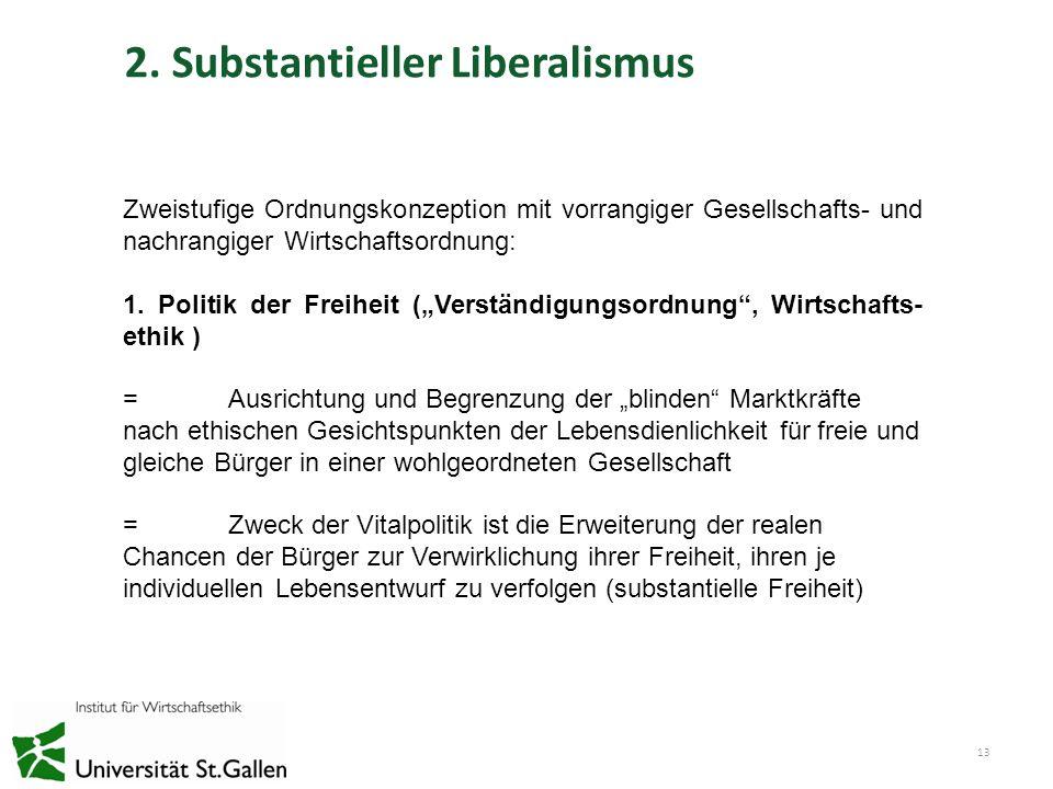 2. Substantieller Liberalismus 13 Zweistufige Ordnungskonzeption mit vorrangiger Gesellschafts- und nachrangiger Wirtschaftsordnung: 1. Politik der Fr