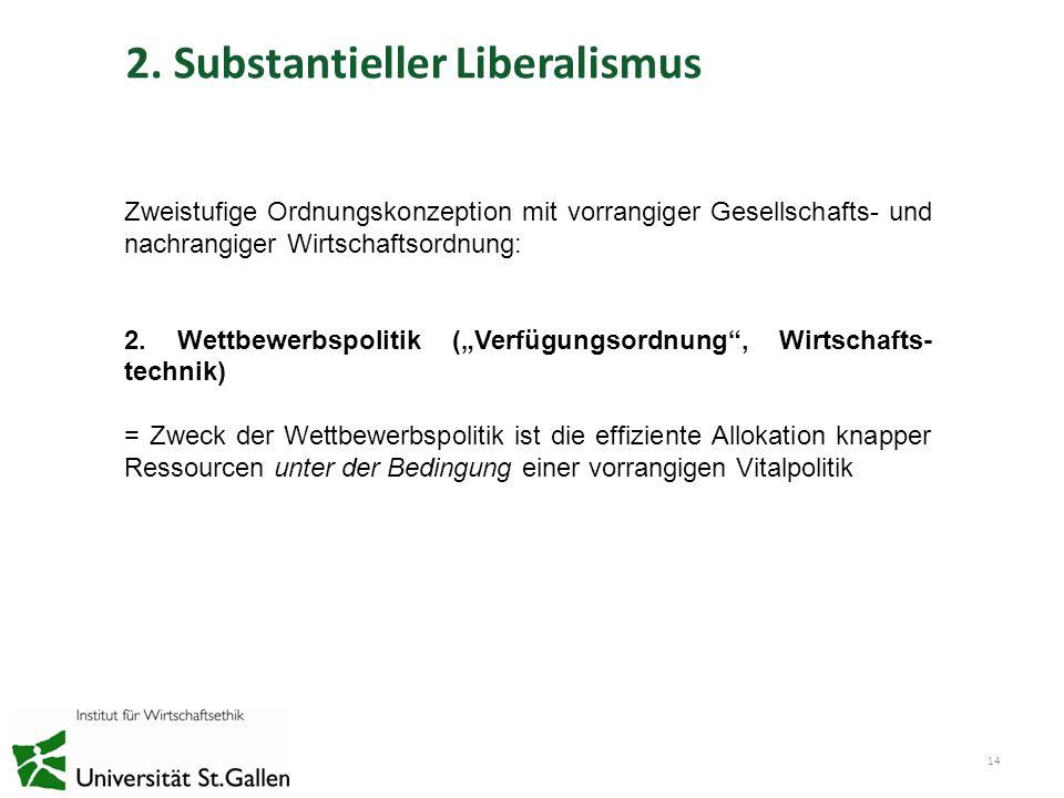 2. Substantieller Liberalismus 14 Zweistufige Ordnungskonzeption mit vorrangiger Gesellschafts- und nachrangiger Wirtschaftsordnung: 2. Wettbewerbspol