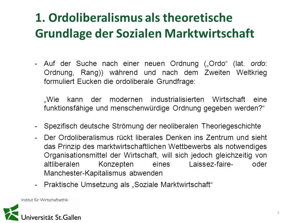 1. Ordoliberalismus als theoretische Grundlage der Sozialen Marktwirtschaft 6 -Auf der Suche nach einer neuen Ordnung (Ordo (lat. ordo: Ordnung, Rang)