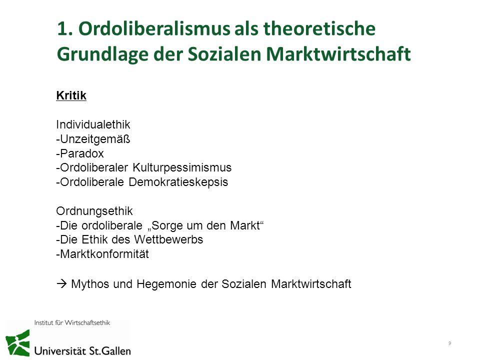 1. Ordoliberalismus als theoretische Grundlage der Sozialen Marktwirtschaft 9 Kritik Individualethik -Unzeitgemäß -Paradox -Ordoliberaler Kulturpessim