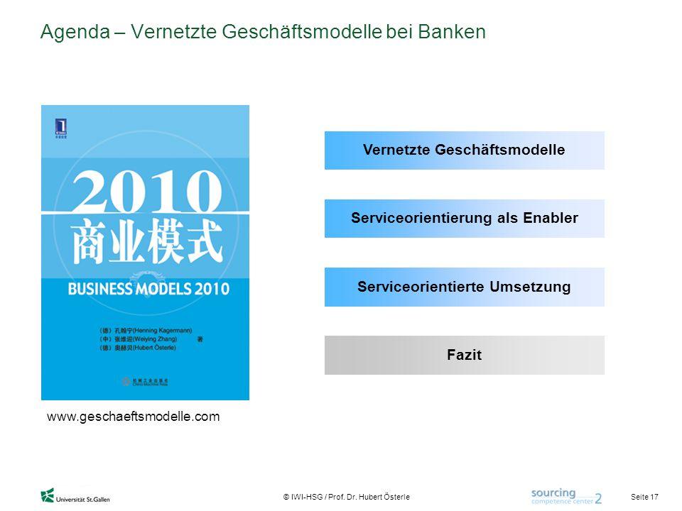 Seite 17 © IWI-HSG / Prof. Dr. Hubert Österle Agenda – Vernetzte Geschäftsmodelle bei Banken www.geschaeftsmodelle.com Vernetzte Geschäftsmodelle Serv