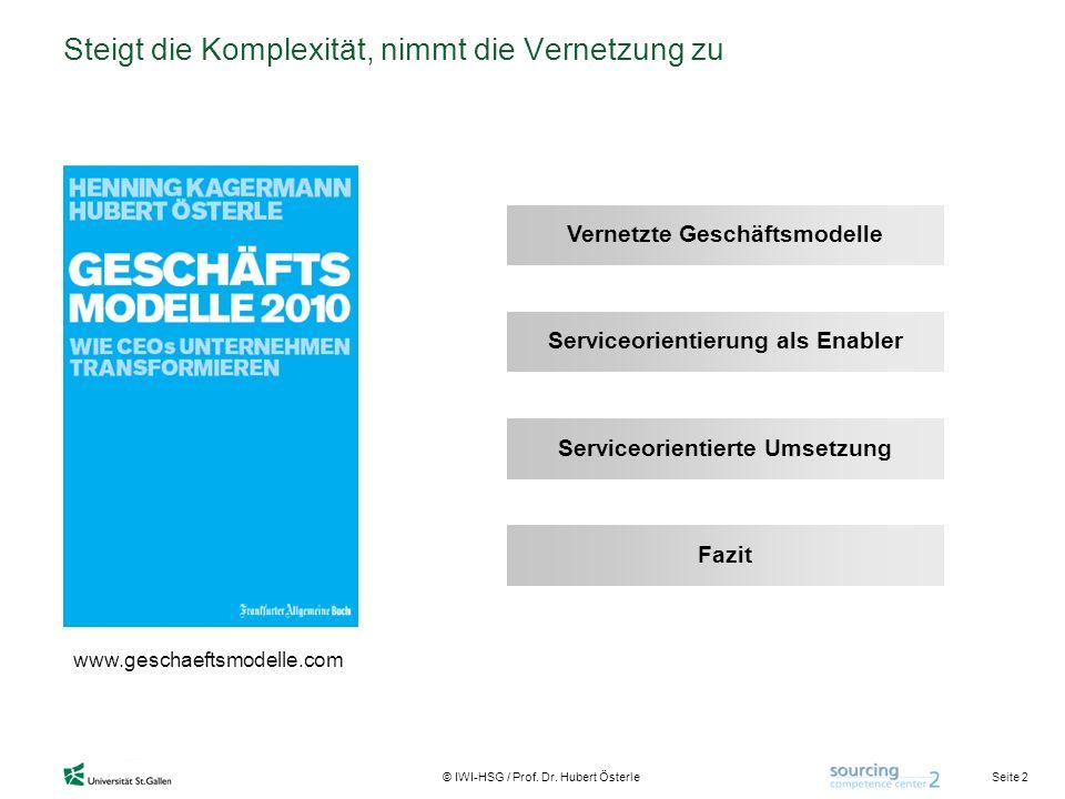 Seite 2 © IWI-HSG / Prof. Dr. Hubert Österle Steigt die Komplexität, nimmt die Vernetzung zu www.geschaeftsmodelle.com Vernetzte Geschäftsmodelle Serv
