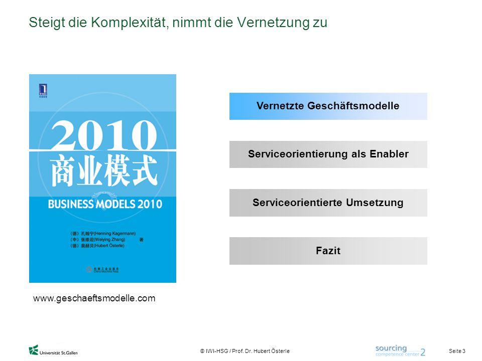 Seite 3 © IWI-HSG / Prof. Dr. Hubert Österle Steigt die Komplexität, nimmt die Vernetzung zu www.geschaeftsmodelle.com Vernetzte Geschäftsmodelle Serv